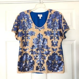 Tracy Reese Blue Gold Sequined Top